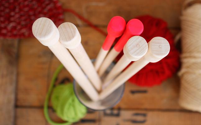 Pack agujas de molde XL en madera de haya 15, 12 y 10mm
